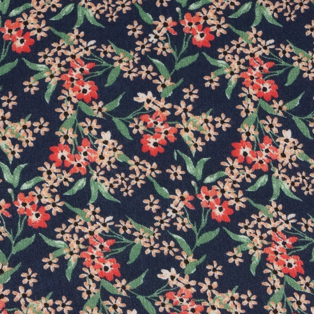 Rayon - Navy with Wildflower Mix in Crepe