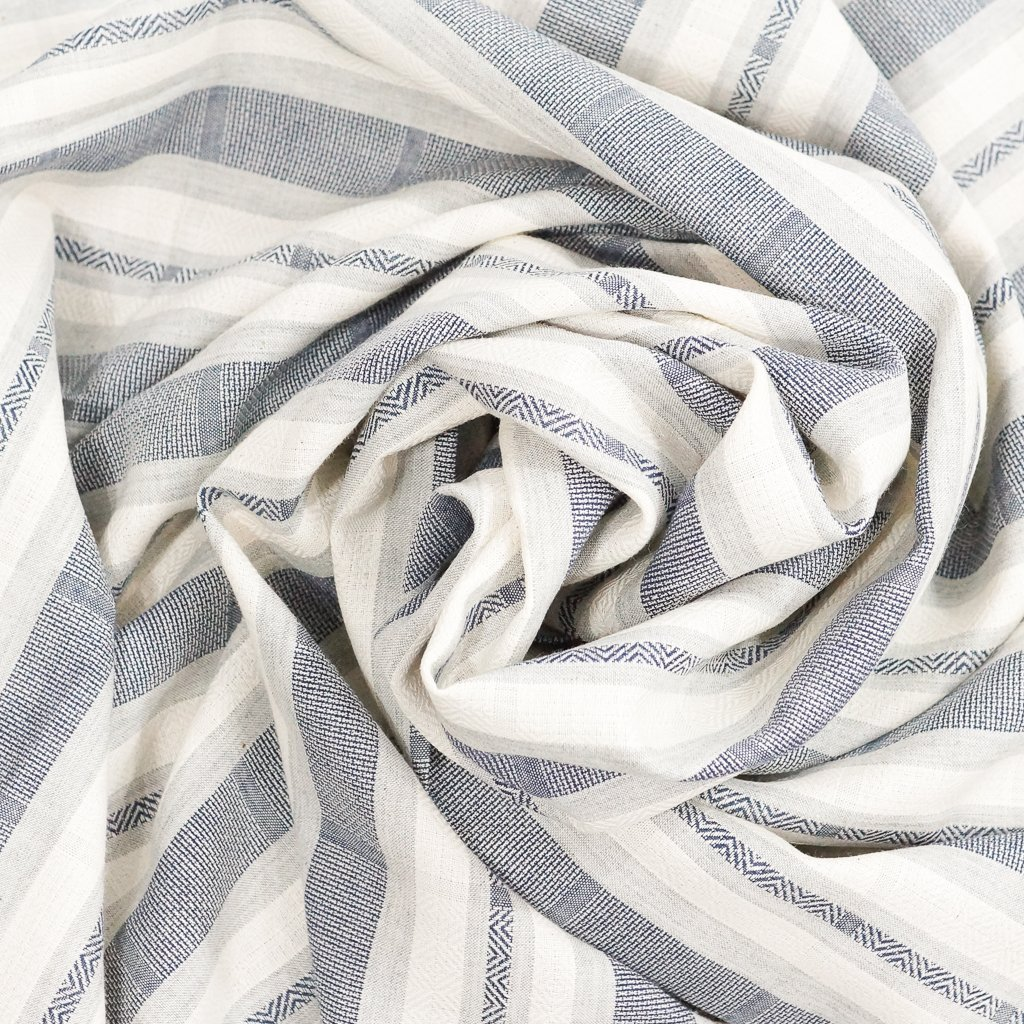 Cotton - Yarn-Dyed Navy-Cream Stripe