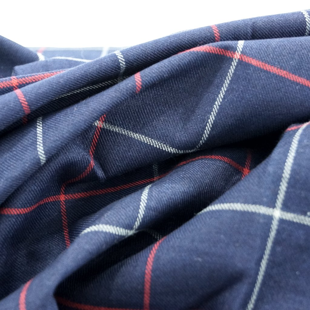 Four Featured Fabrics: Cotton - Navy & Red Windowpane Twill Shirting