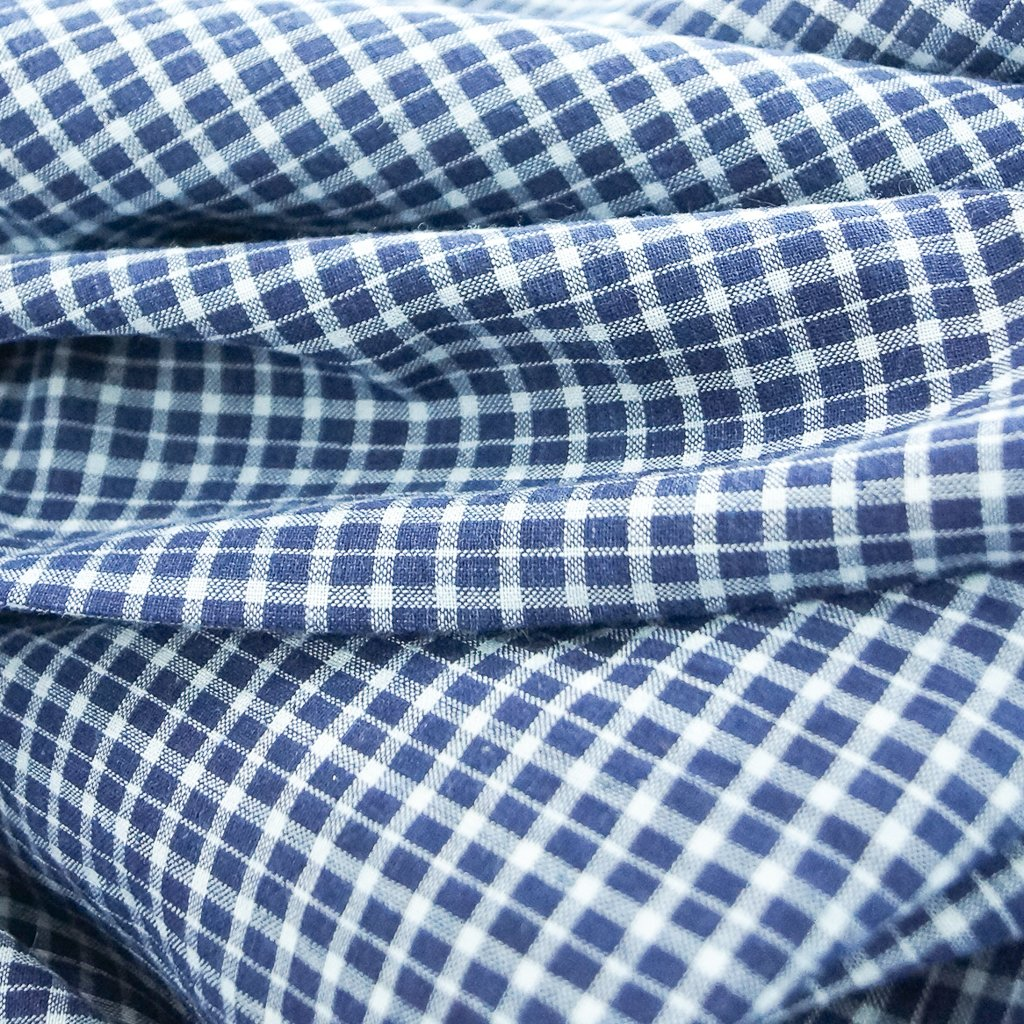 Cotton - Yarn-dyed Blue & White Plaid Shirting