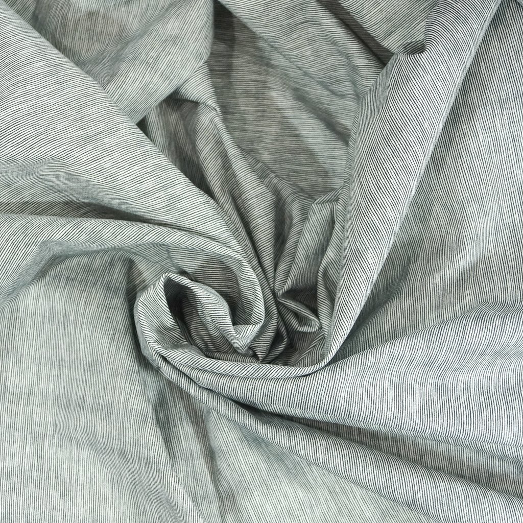 Cotton Twill - Micro Navy & White Stripe on Brushed Twill
