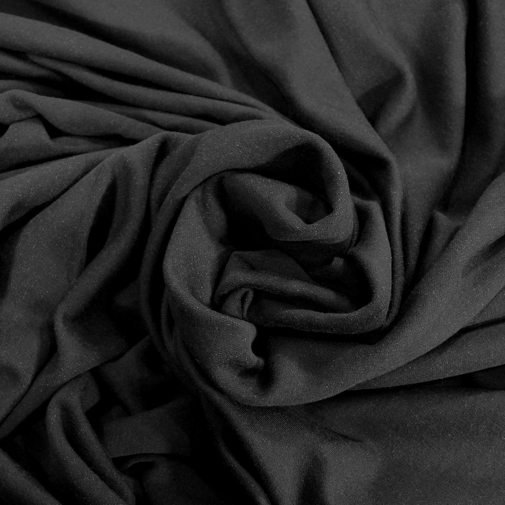 Organic Cotton Fleece - Black with Tencel & Spandex