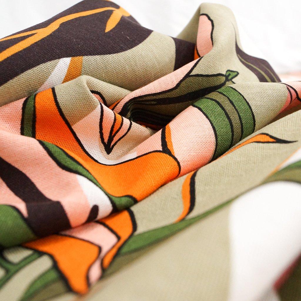 Linen - Rayon Blend - Tropical Floral in Sage & Citrus