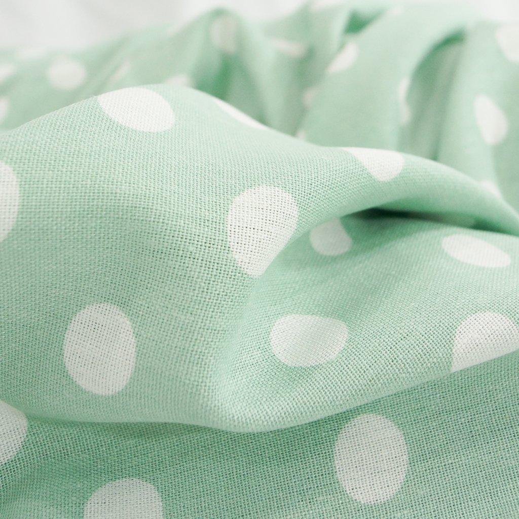 Linen - Rayon Blend - Mint Large Dot