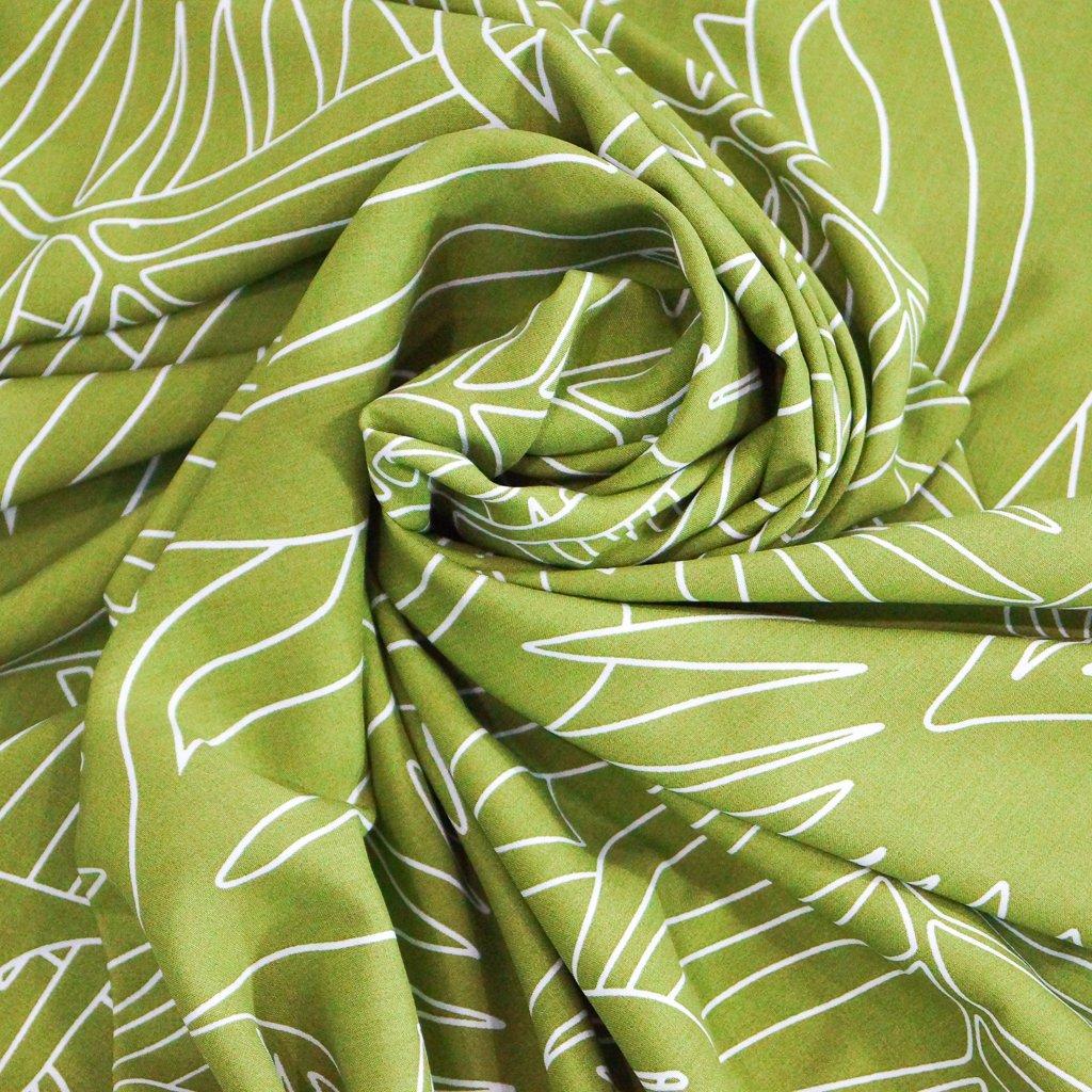 Rayon Poplin - Tropical Palm Print in Apple Green