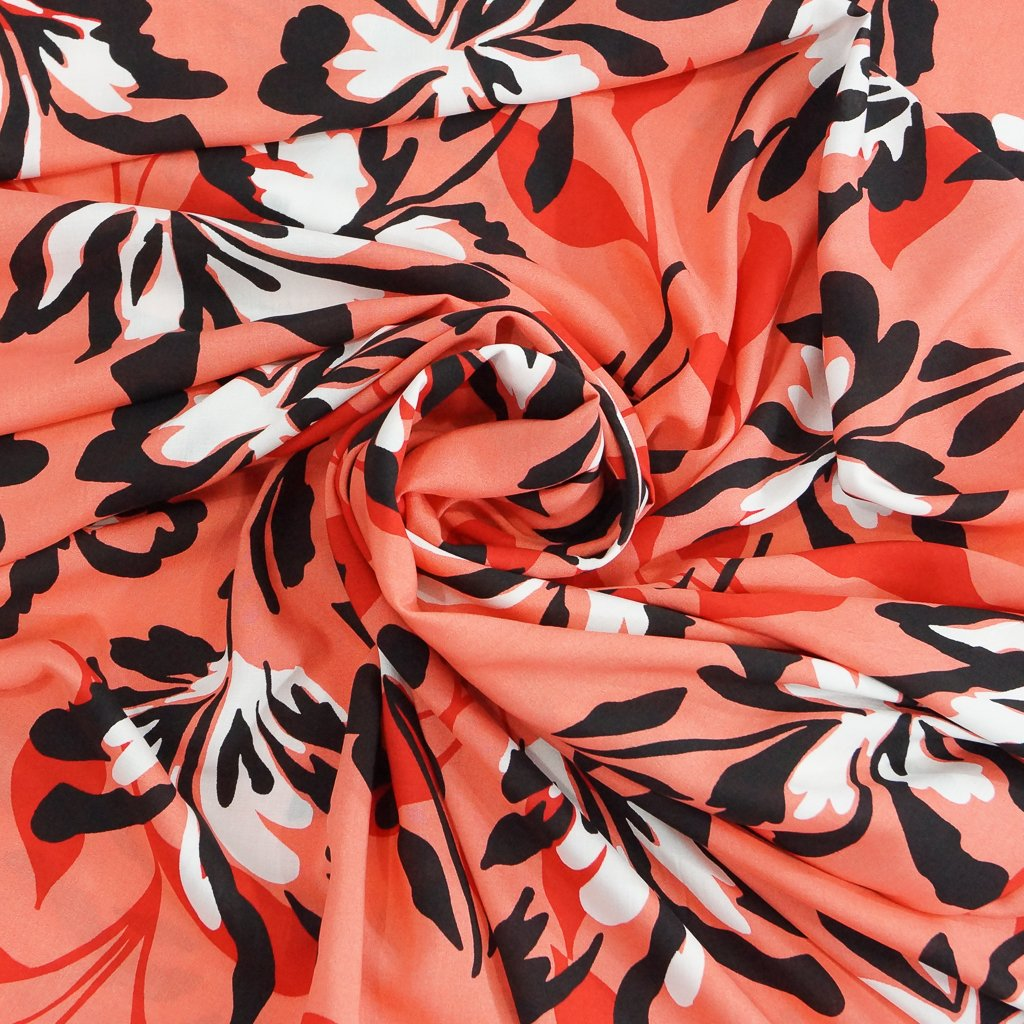 Rayon Poplin - Large Floral in Coral