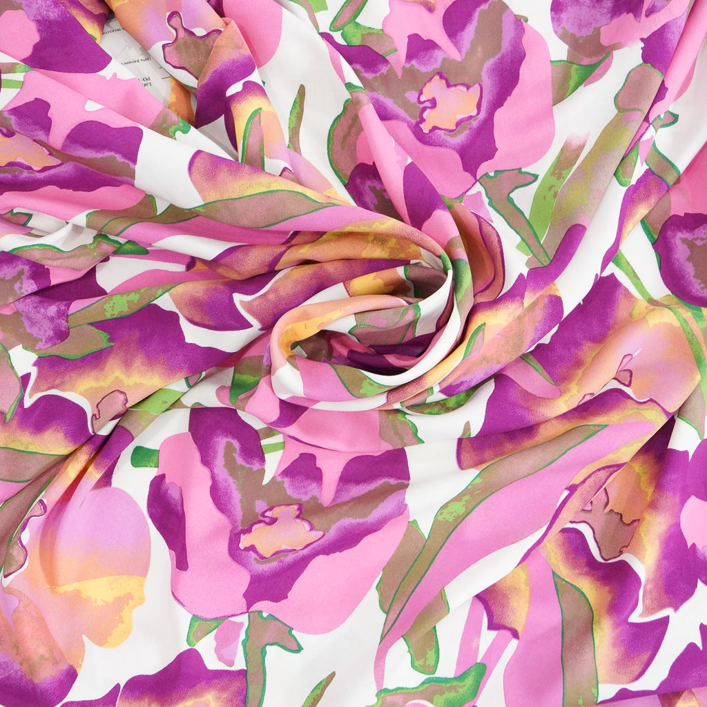 Rayon Poplin - Large Floral in Fuchsia