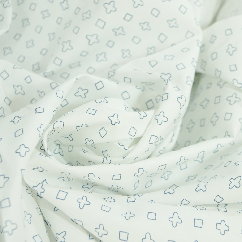 Cotton - Blue Plus Signs and Squares on White Shirting