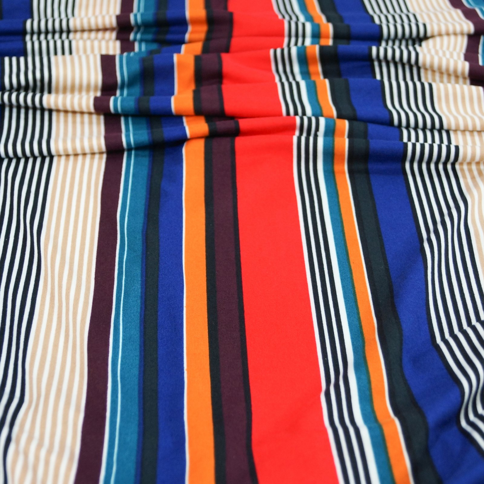 Knit - Stripes: Blue, Red, Taupe, Cream, Black