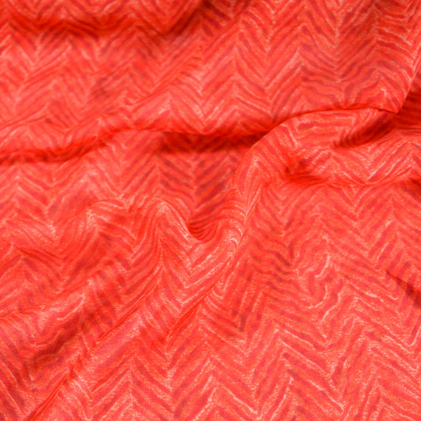 Silk - Red Chevron Italian Silk Chiffon