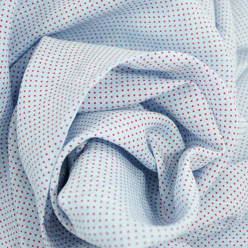 Linen - Pale French Blue with Red Micro Dots