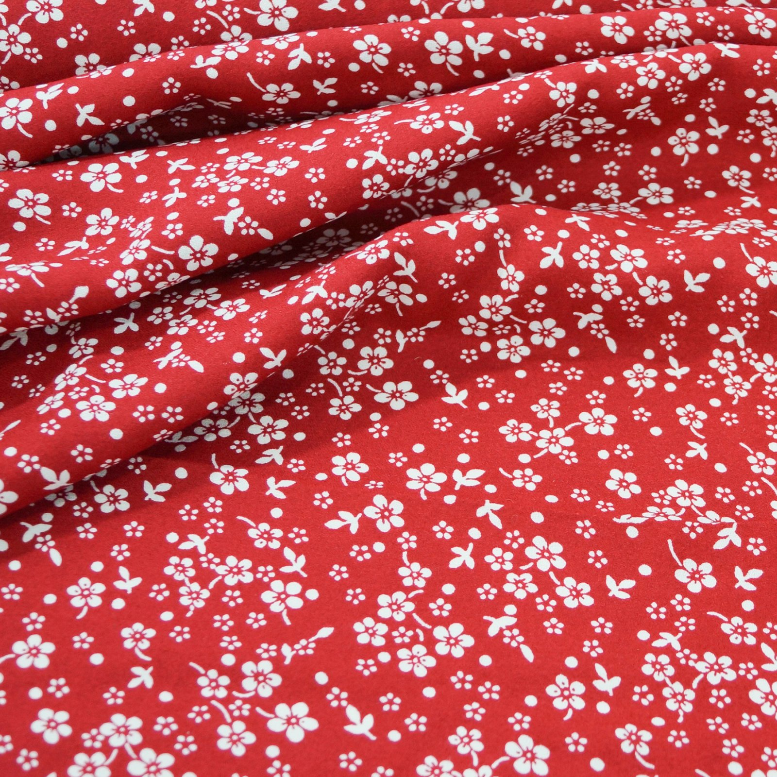 Rayon - Crimson with Small Cream Flowers