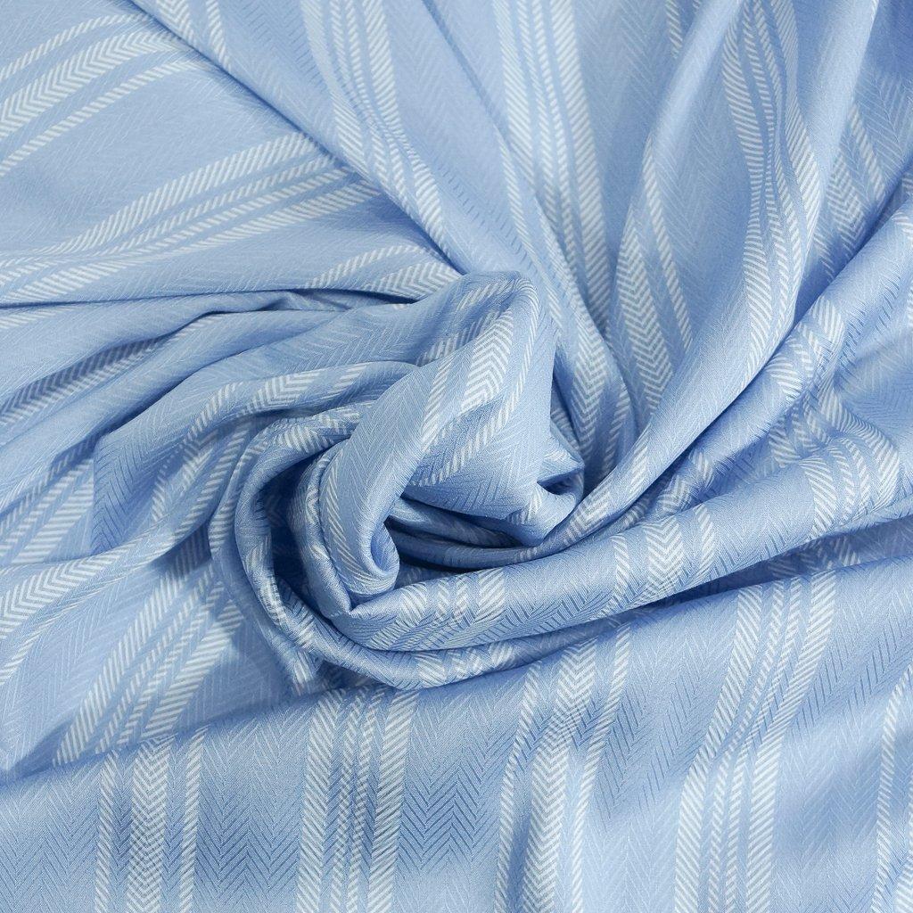 Rayon - Pale French Blue Stripe Challis