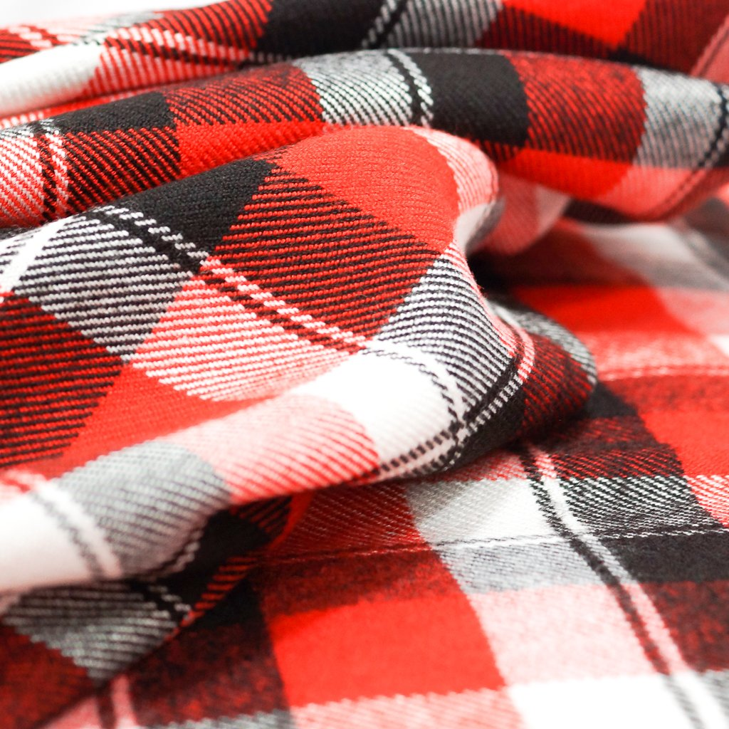 Flannel - Recycled Seawool Thick Flannel Plaid - Red