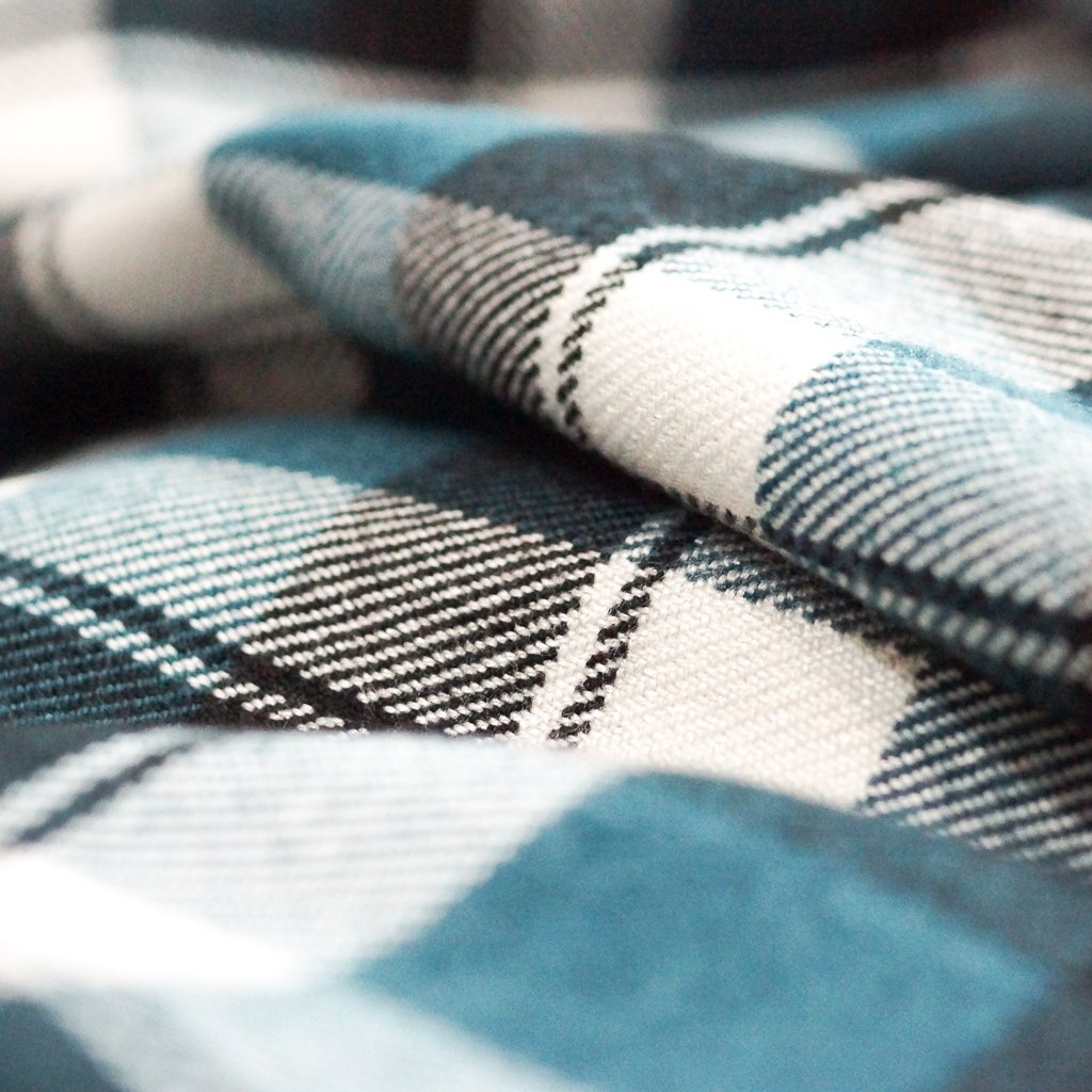 Flannel - Recycled Seawool Thick Flannel Plaid - Teal