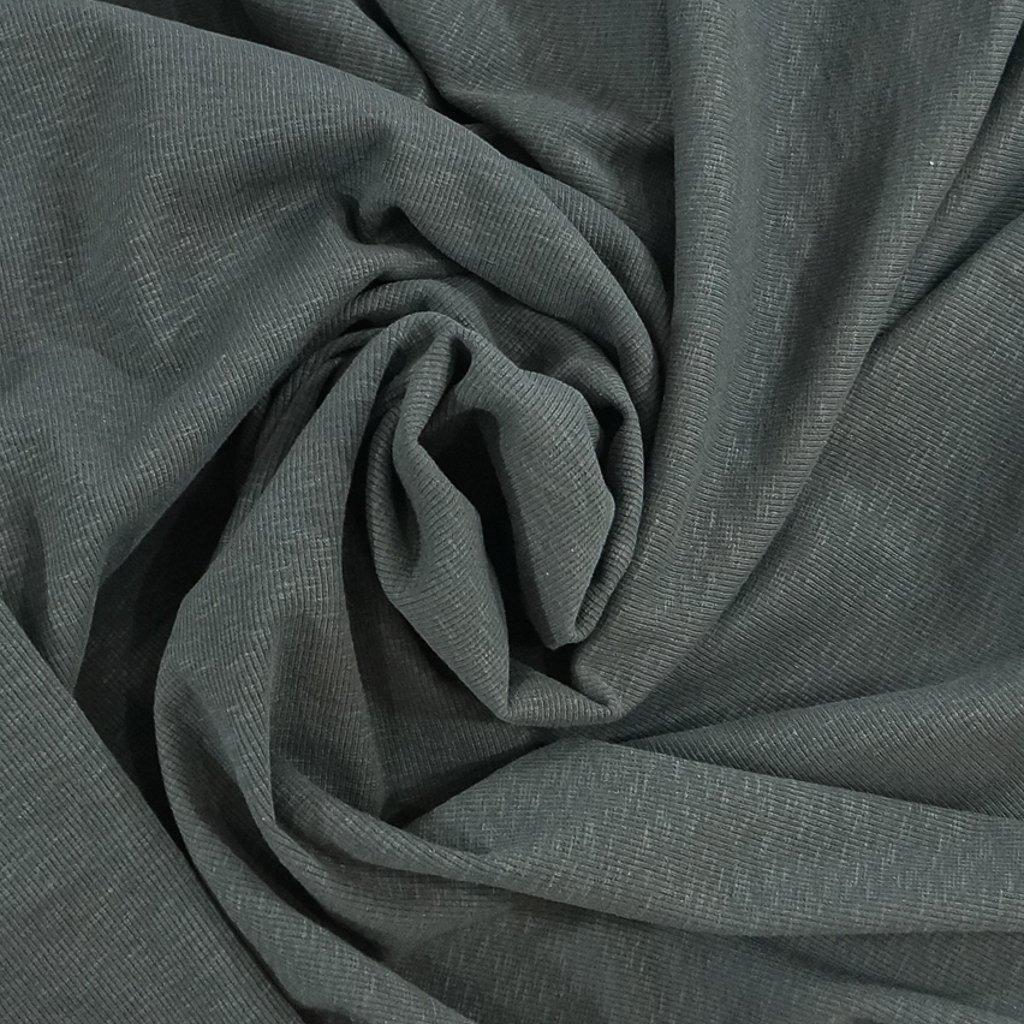 Ribbed Slub Cotton - Charcoal