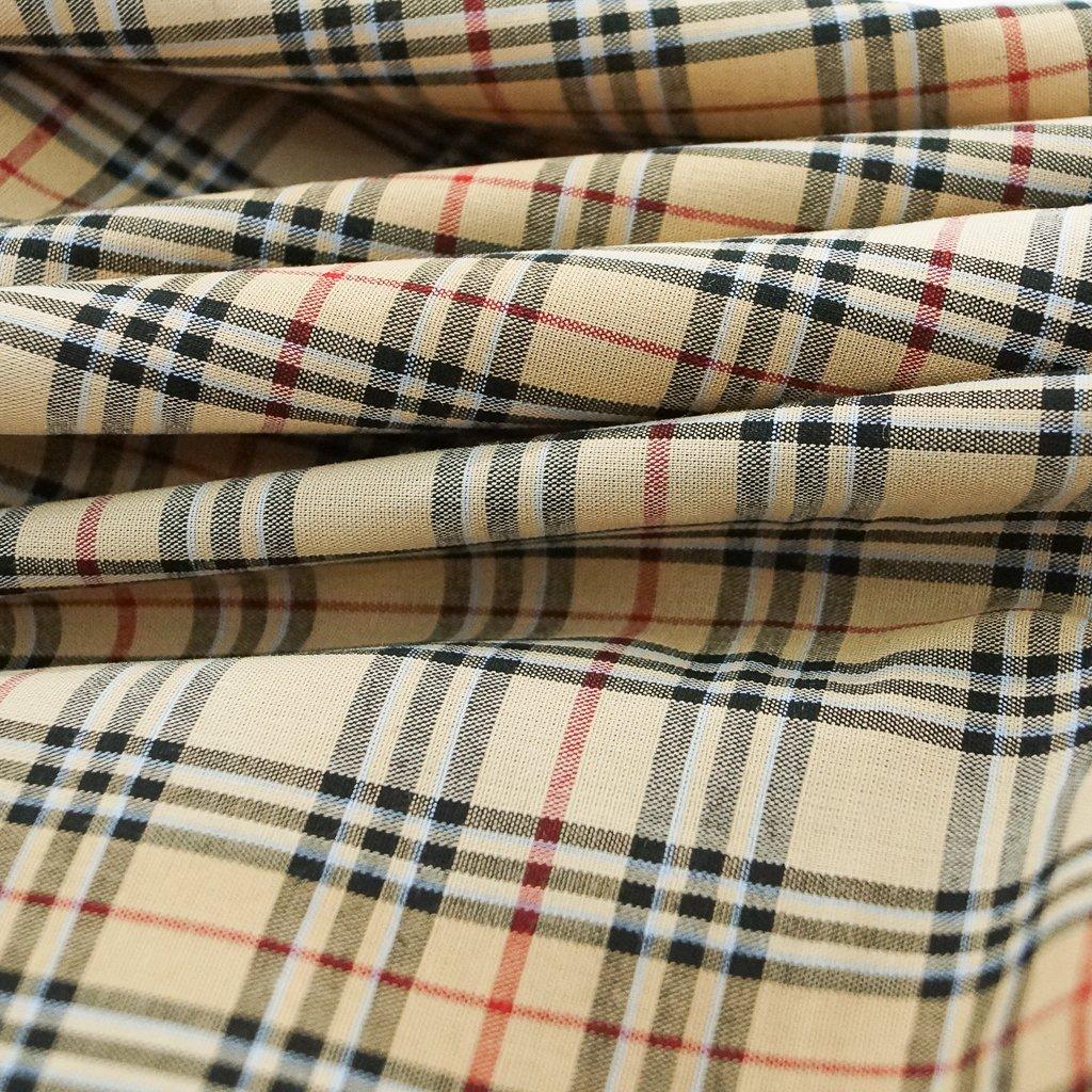Cotton - Yarn-dyed Tan, Red, Black Plaid Shirting