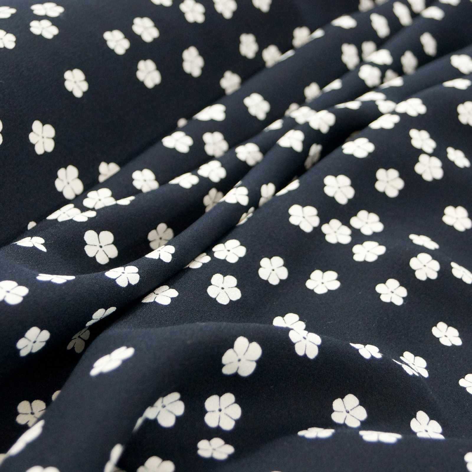 Rayon Crepe - Black with Small Cream Flowers