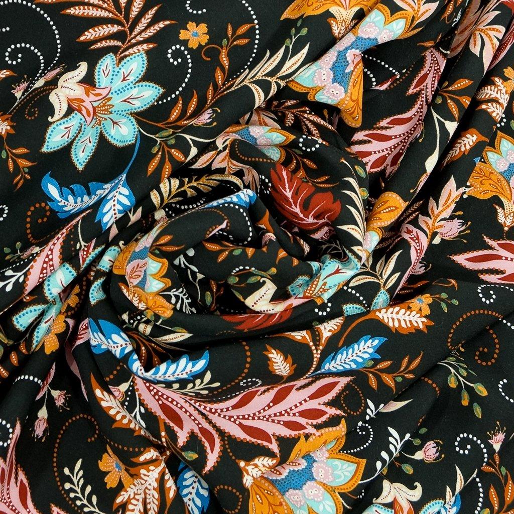 Rayon Challis - Black Provincial Floral