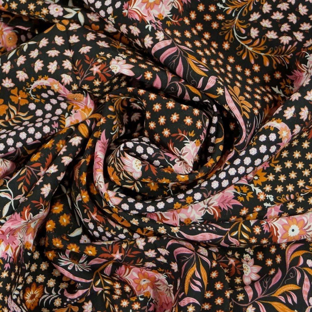 Rayon Challis - Black Floral Koi Pond