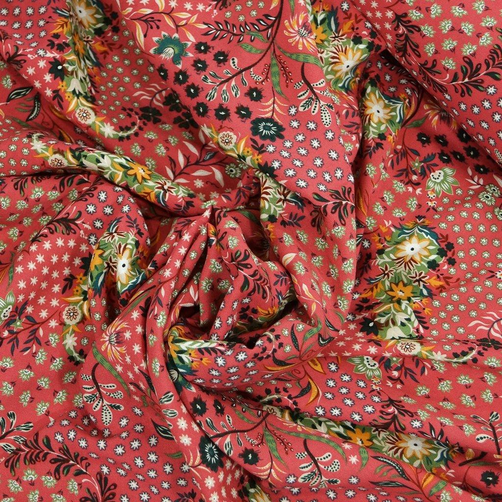 Rayon Challis - Rose Bud Floral Koi Pond