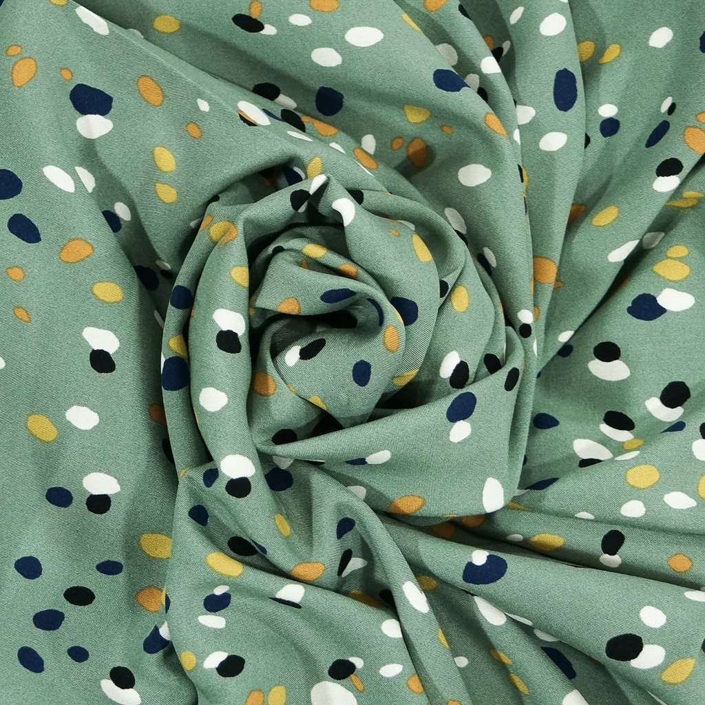 Rayon Challis - Sage Green with Navy, Yellow, Mustard Dollops