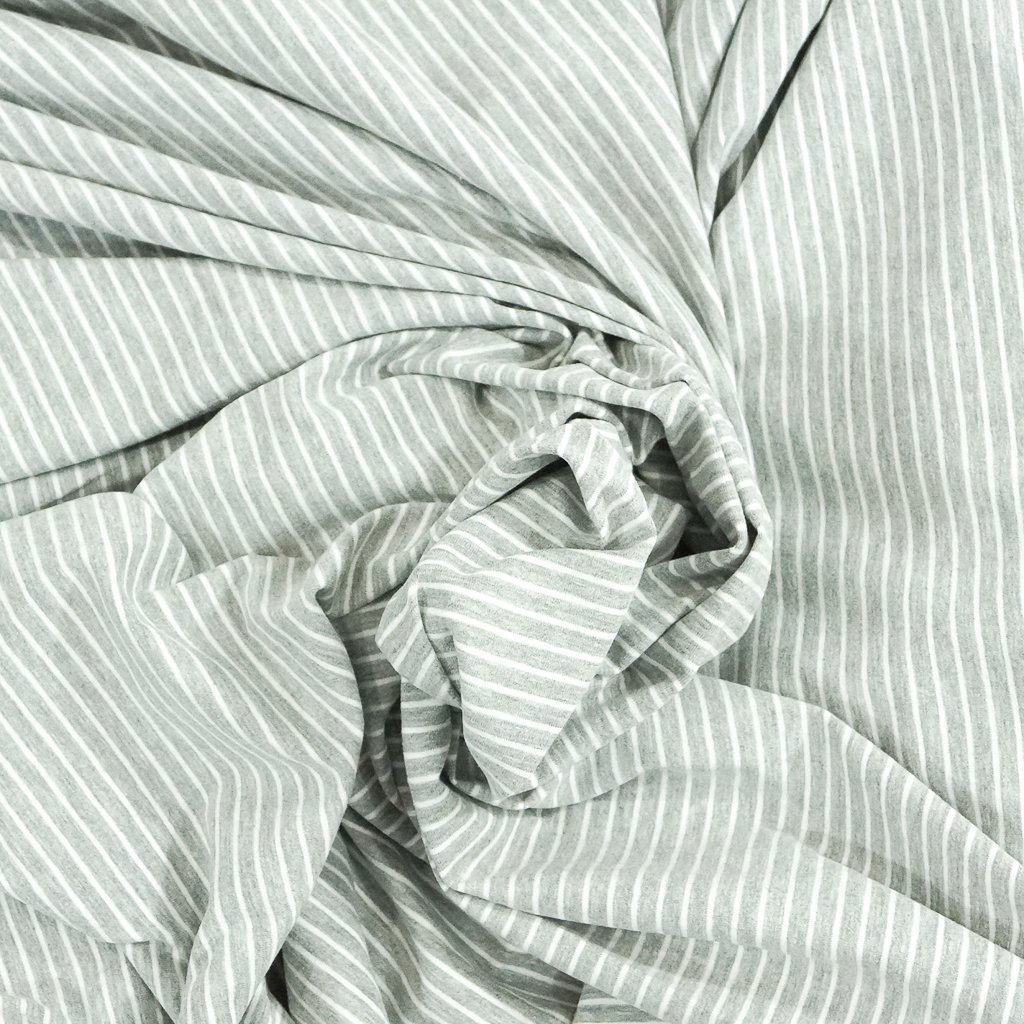 Cotton Knit - Gray Melange and White Stripe OEKO-TEX Cert