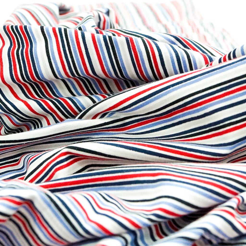 Cotton Knit - Red, Blue, and White Stripe OEKO-TEX Cert