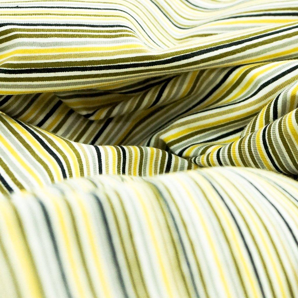 Cotton Knit - Gold, Olives, Black, Gray and White Stripe OEKO-TEX Cert
