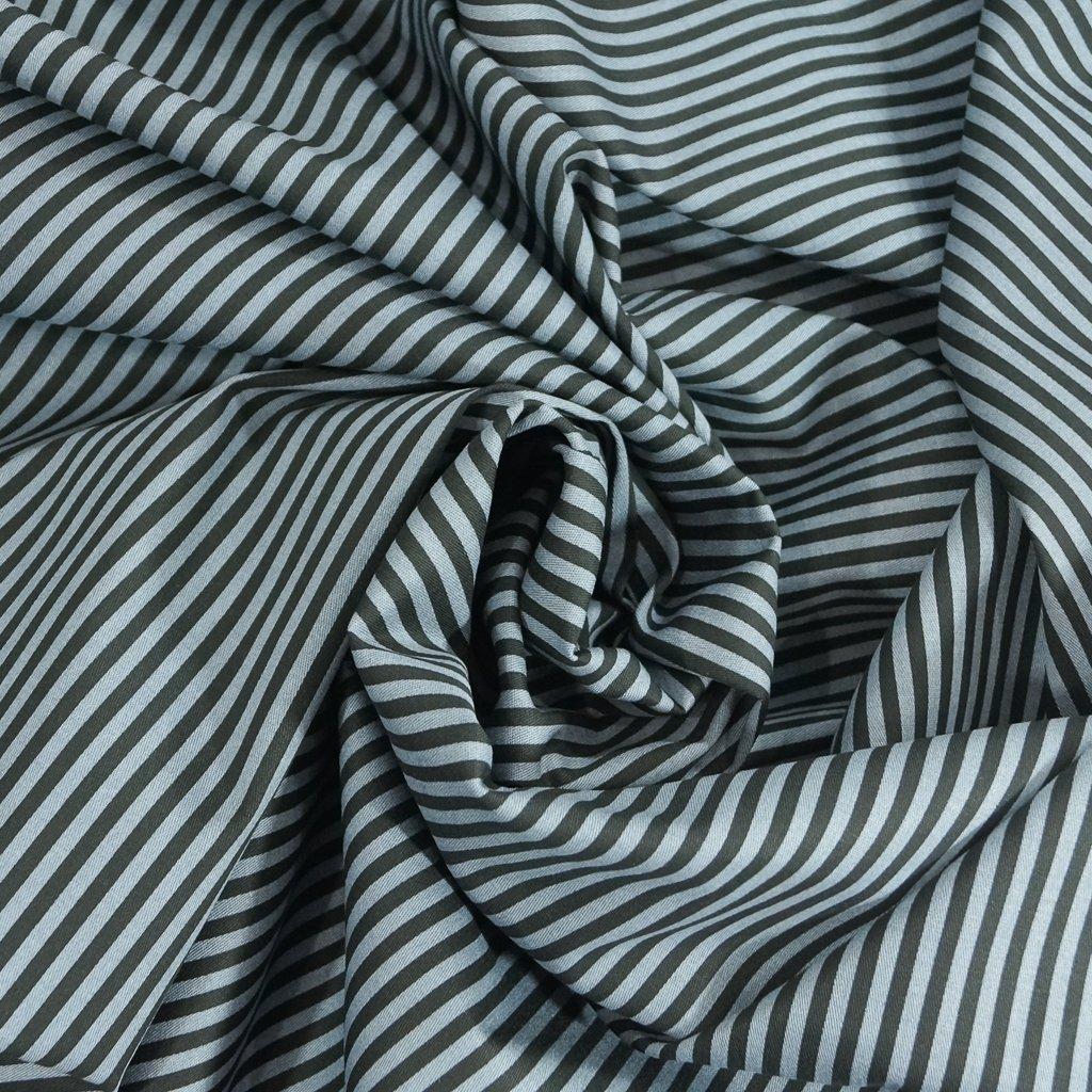 Stretch Twill - Steel Blue and Black Stripe