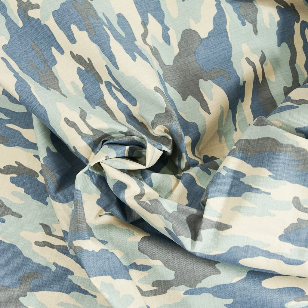 *Four Featured Fabrics: Stretch Twill - Muted Blue Camo
