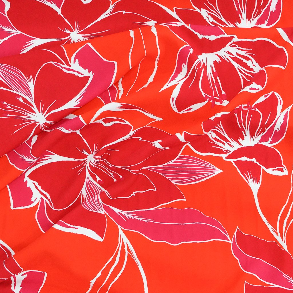 Rayon Twill - Large Floral in Red, Orange & Fuchsia