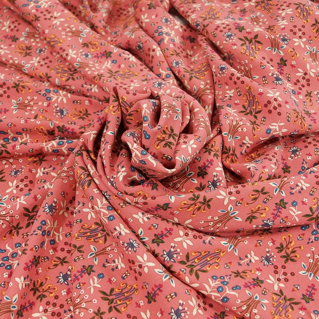 Rayon - Clay Rose Cottage Floral Crepe - OEKO-TEX Cert