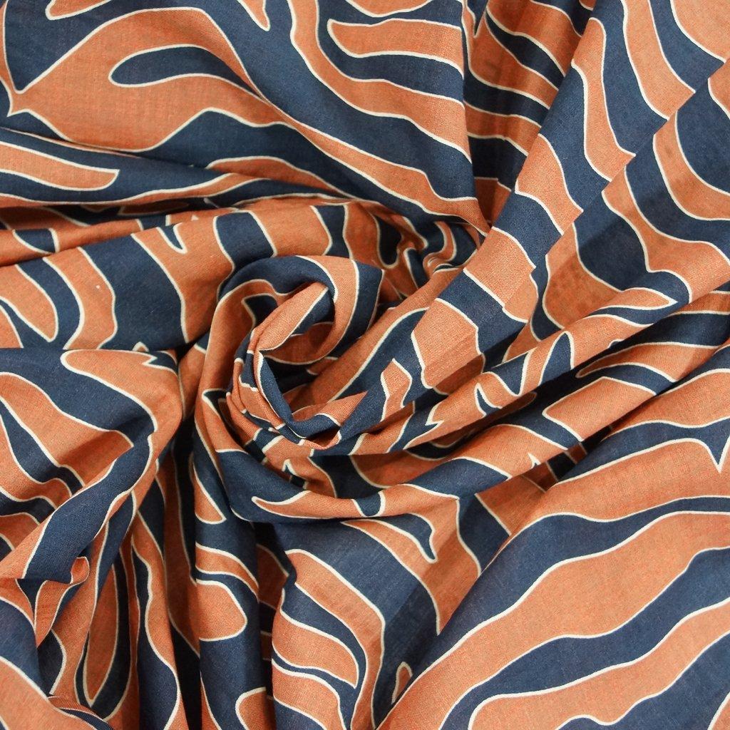 Voile - Rust & Navy Abstract Zebra