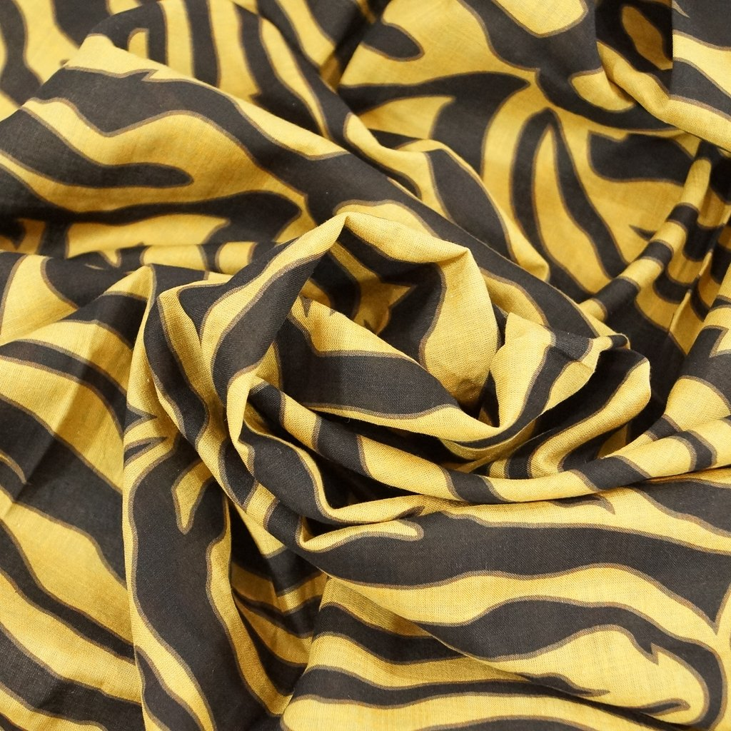 Voile - Mustard & Black Abstract Zebra