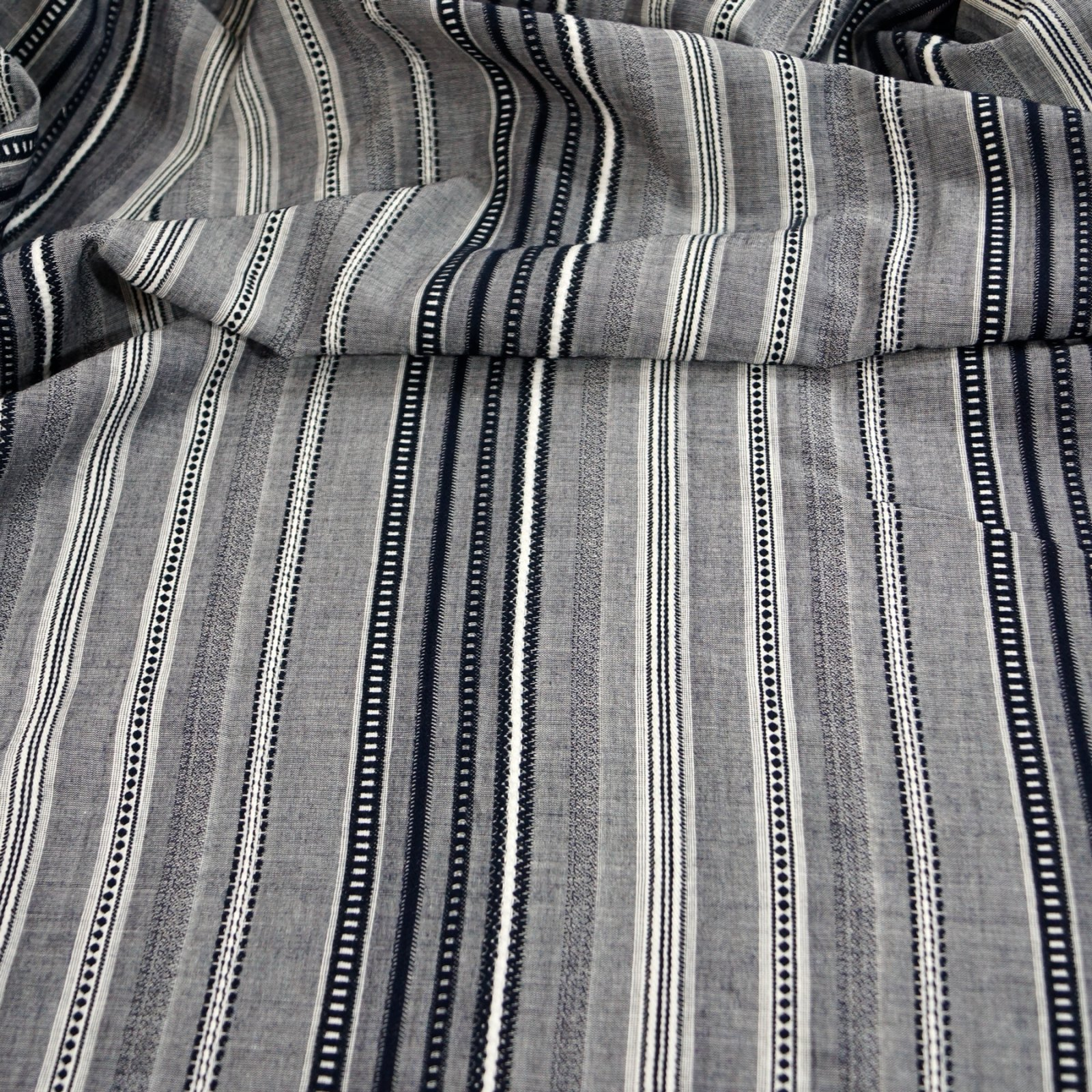Cotton - Blue with textured stripes