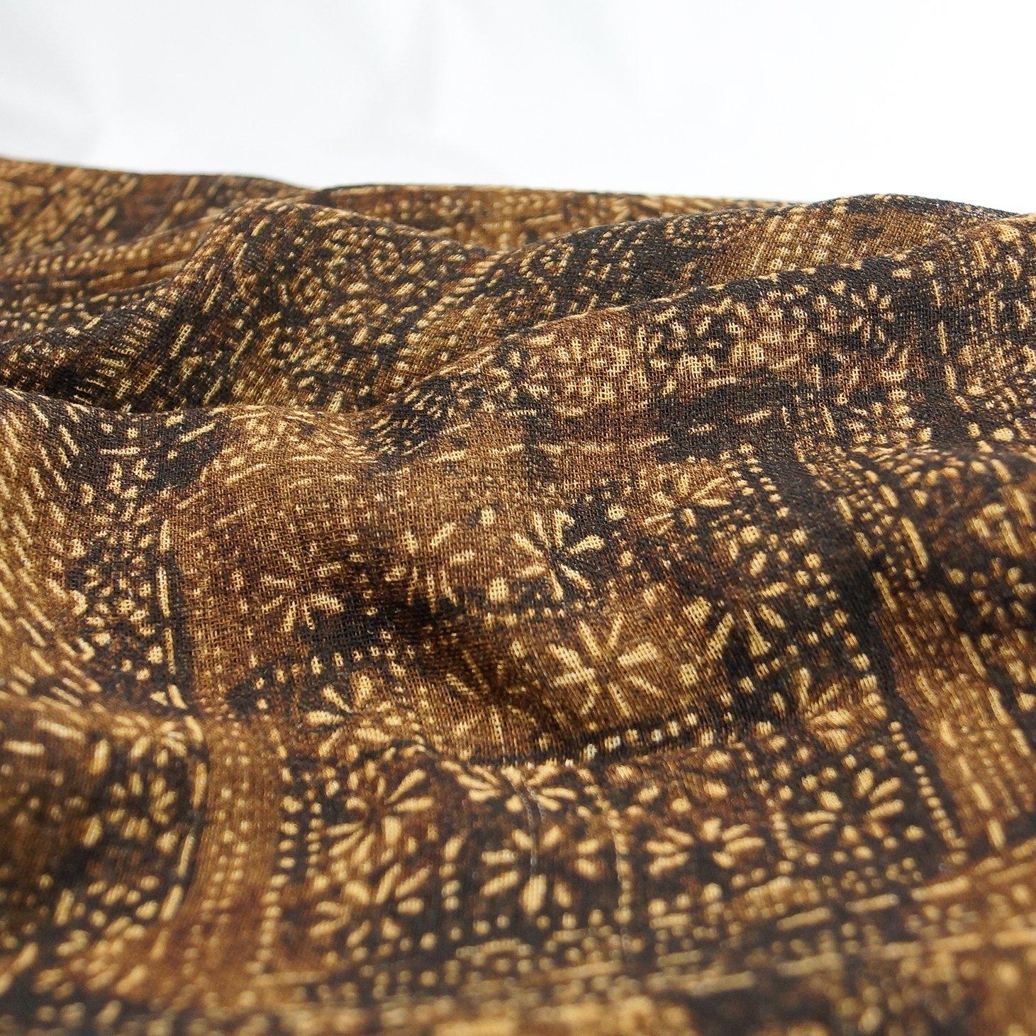 Wool - Italian Wool Challis in Tobacco Batik