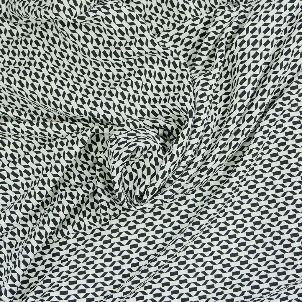 Viscose Crepe - Geometric Black and White