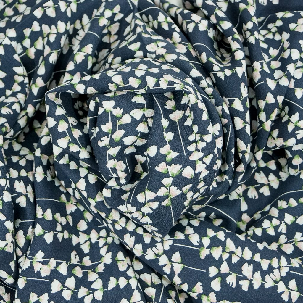 Rayon Challis - Petite Floral on Navy