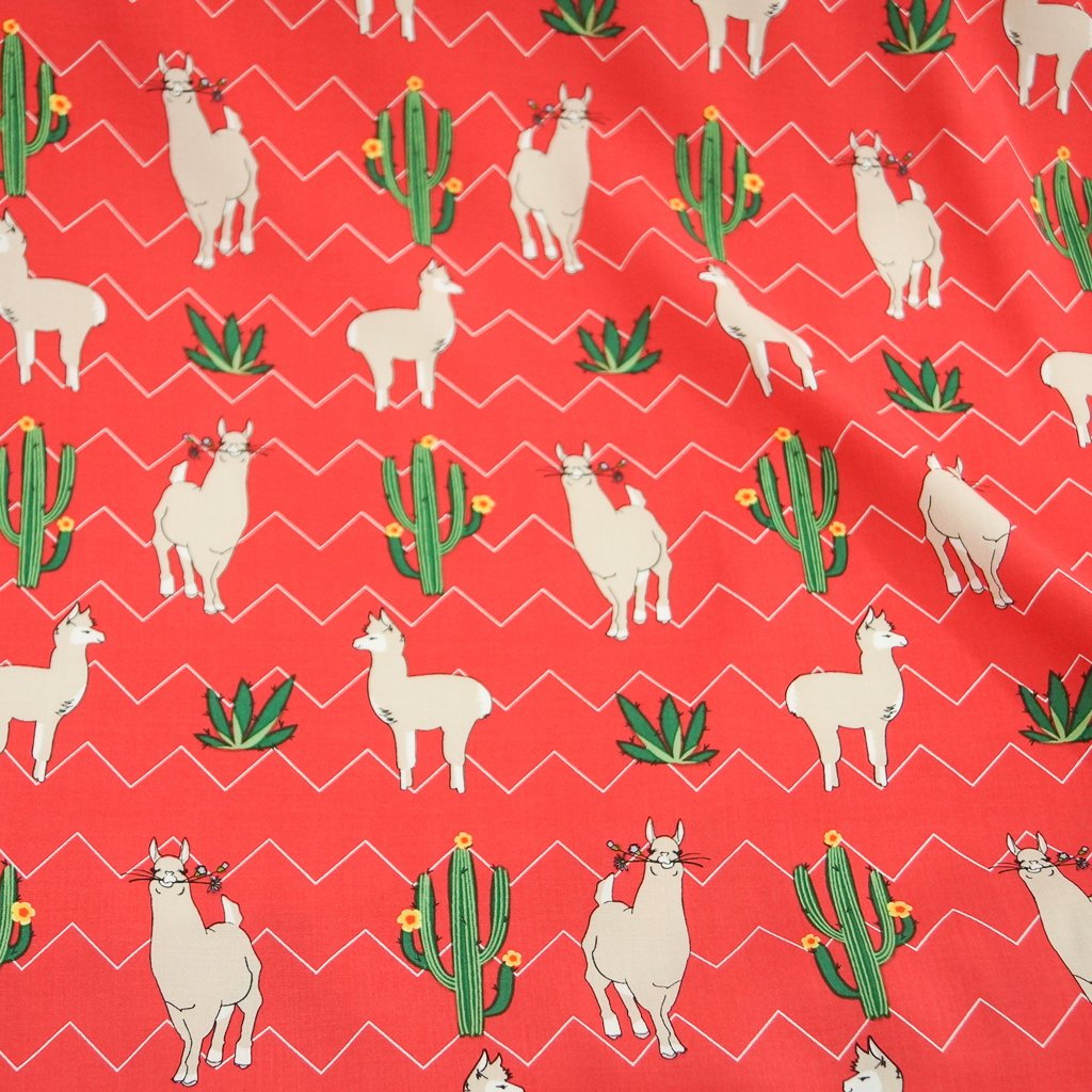 Rayon - Llamas & Cacti Viscose Poplin on Watermelon