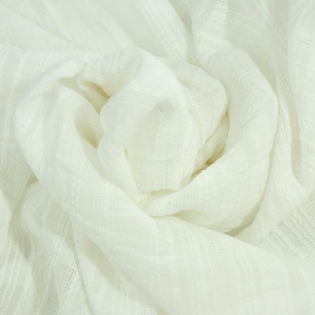 Cotton - Gauze & Embroidery Textured White