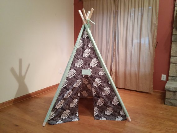 Large Gray and Mint Floral Play Teepee Tent Ready to Ship