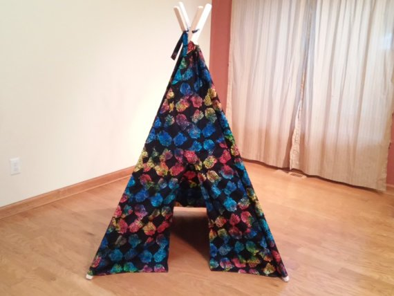 Rainbow Owl Print Play Teepee Tent Ready to Ship