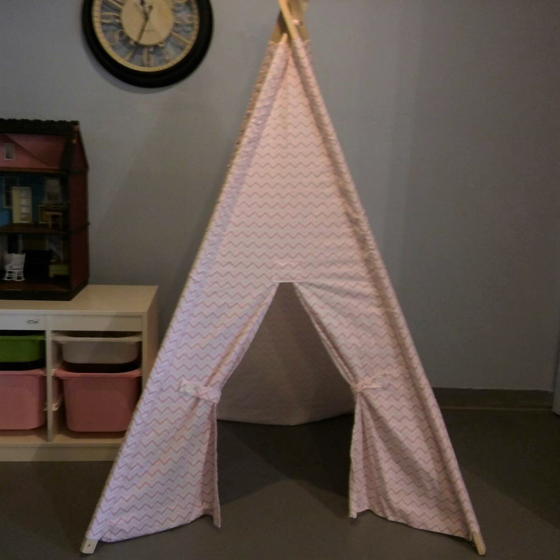 Pink and White Mini Chevron kids Play Teepee Ready to Ship