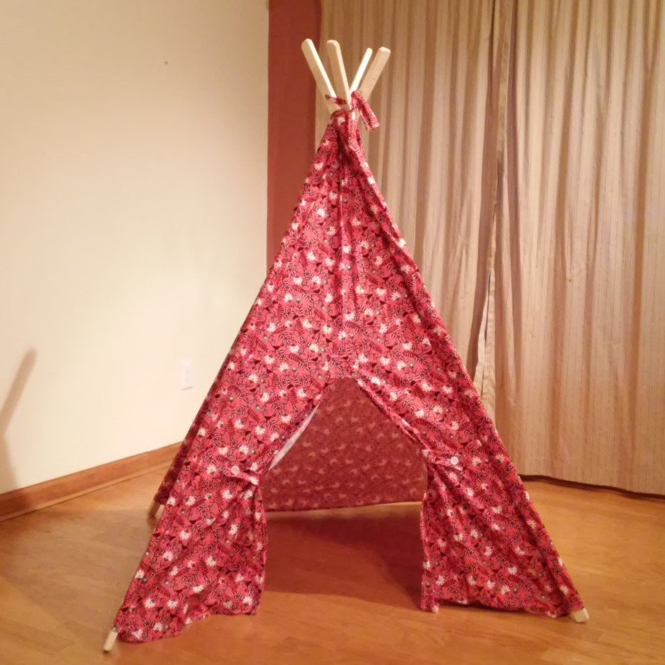 Black and Orange Floral Bird Print Play Teepee Tent with Tie Backs Ready to Ship