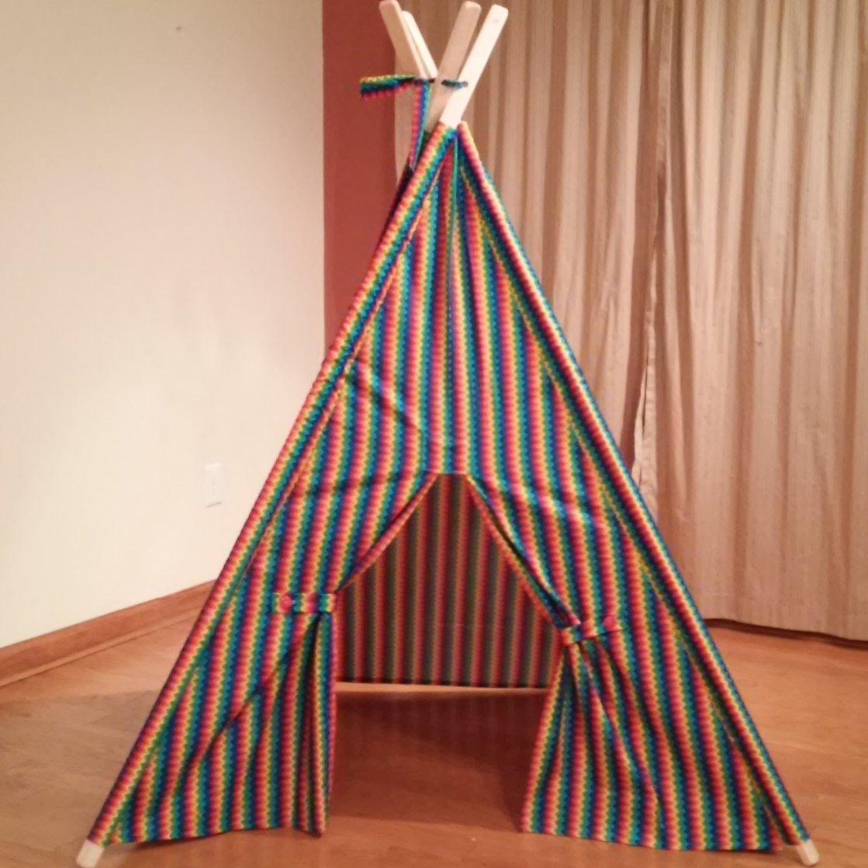 Rainbow Chevron Play Teepee Tent with Tie Backs Ready to Ship