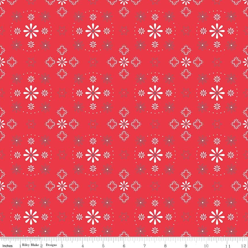Bee Backings and Borders Red 108 in Wide Back