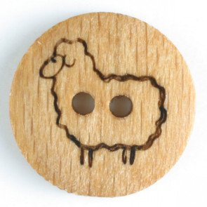 Button - Wood Sheep