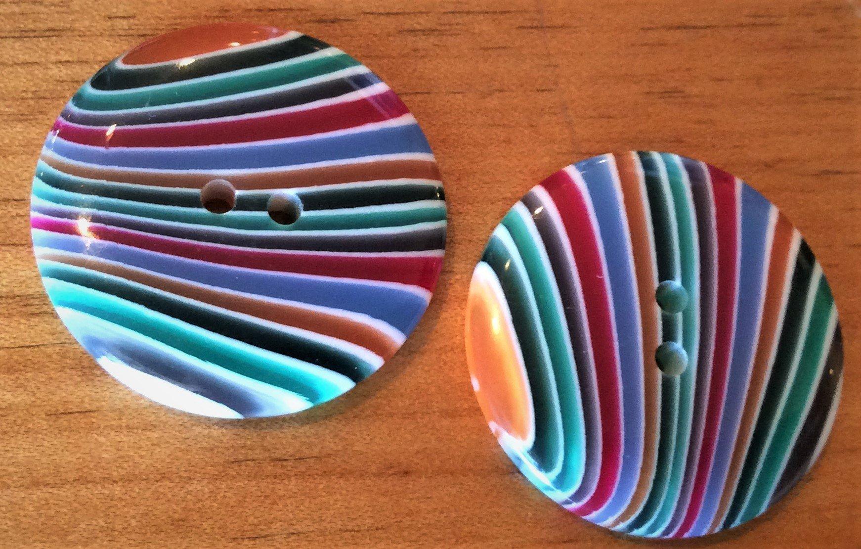 Button - Resin Multi Stripe