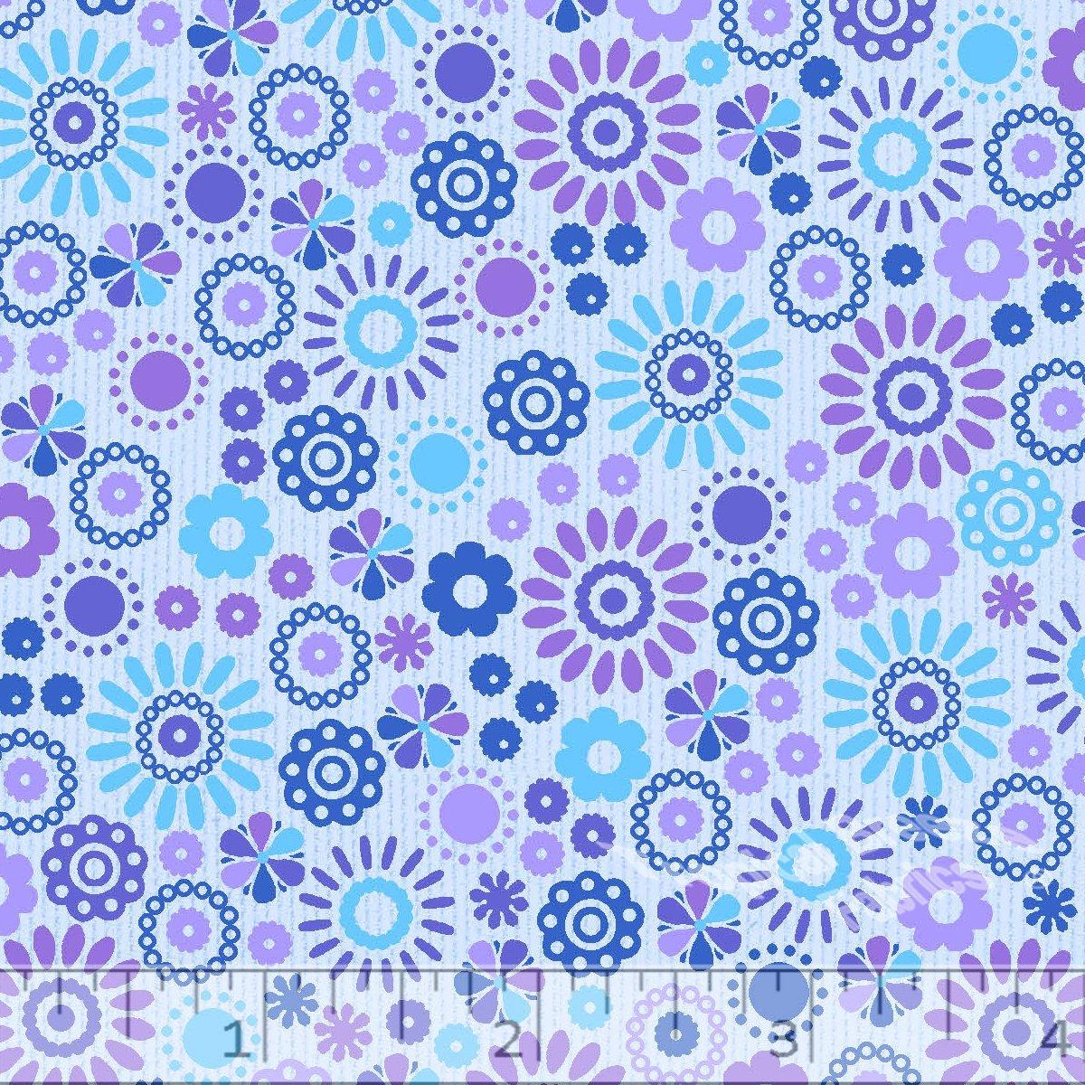 Blue Flower Power Dobby Pique